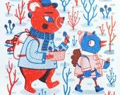 Winter Pals - Risograph Print Animals Woodland Nature
