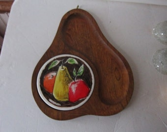 Fred Press pear tray..hardwood and tile...gorgeous.signed tray
