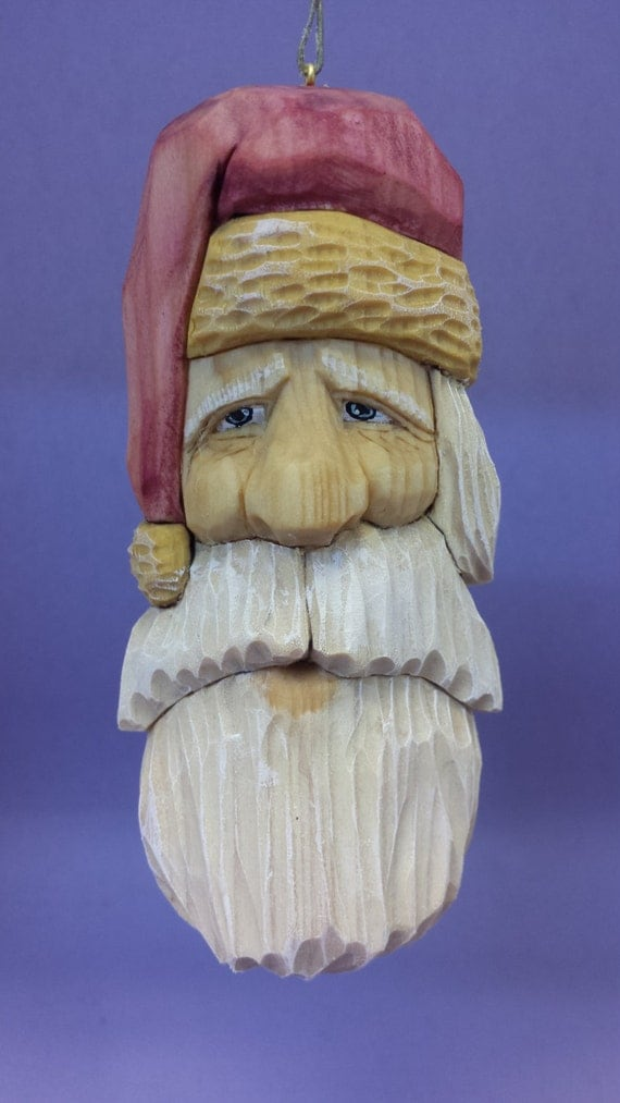 Hand carved Santa Claus hanging ornament wood carving Christmas decoration holiday decor OOAK gift for him gift for her collectible art