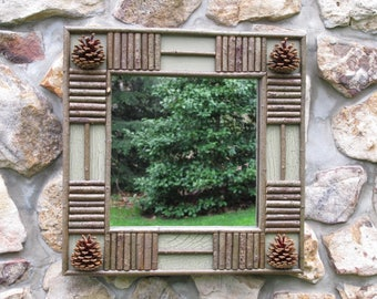 Twig and Pine Cone Mirror In Dry Sage Green Crackle Finish