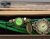 Women watch leather bracelet with a green leaf charm gift for her women watches ladies watch women wrist watch boho watch vintage