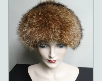Vintage Raccoon Fur Hat//1960s Fur Hat//1960s Hat//Lewin's//Raccoon Fur Hat//Couture
