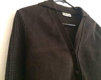 Dark brown suede front cardigan