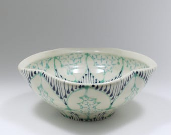 Small Wheel Thrown Handmade Ceramic Bowl with Jade, Navy and Turquoise Pattern