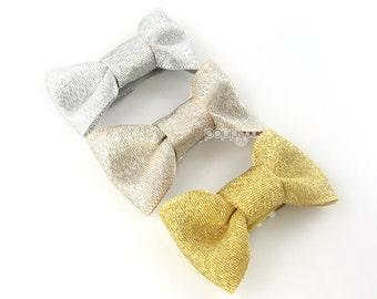 Baby hair bow set - 3 Metallic hair clips, gold hair bow, gold hair clip, light gold, silver hair bow, Christmas baby hair clips, barrettes