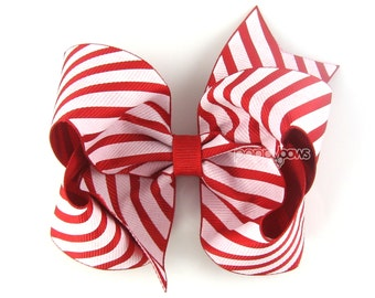 """READY to SHIP Candy Cane Hair Bow - 4"""" hair bow, 4 inch hair bow, girls hair bows, big hair bows, boutique bows for girls, Christmas bows"""