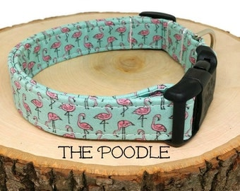 Dog Collar, Flamingo Dog Collar, The Poodle, Summer Dog Collar, Cute Dog Collar, Girl Dog Collar, Dog Gift, Matching Leash Available