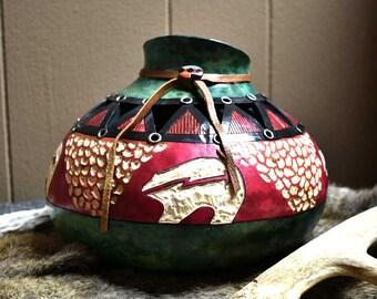 Southwestern Gourd / Cabin Decor Bear / Bear art / Gourd Art / Cabin Decor / Native American Decor /  Handpainted gourd / Native American