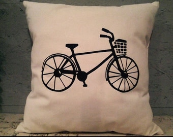 Bicycle Pillow Cover - Farm Pillow Cover - Heat Press Vinyl Bicycle  - Bicycle Throw Pillow - Canvas Pillow - Accent Pillow