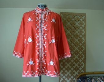 Mandarin Red Embroidered Jacket Top