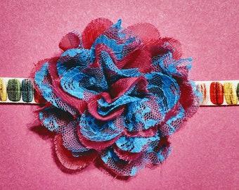 Macaroon Pink and Blue Flower Headband