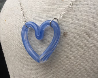 Periwinkle Glass Heart Necklace