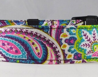 Dog Collar, Martingale Collar, Cat Collar - All Sizes - Purple Paisley