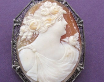 On Sale Antique Cameo Brooch Sterling Silver Hand Carved Shell Cameo Victorian Pin Jewelry