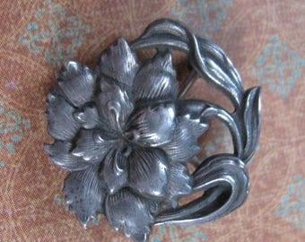 On Sale Antique Sterling Silver Art Nouveau Floral Fob Pin  Circa 1900