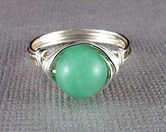 Wire Wrapped Ring Mint Green Ring Amazonite Ring Silver Wire Wrap Ring Wire Wrapped Jewelry Boho Chic Non Tarnish Silver