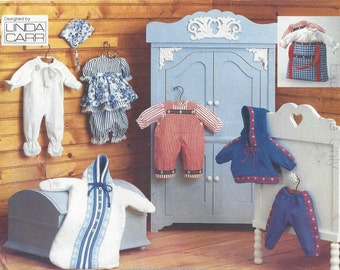 90s Linda Carr 15 to 16 Inch Baby Doll Clothes Dress, Overalls, Romper, Bunting & Lined Bag Vogue Sewing Pattern 9231 UnCut
