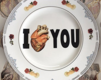 I (anatomically correct) HEART YOU...Up-Cycled Antique Plate