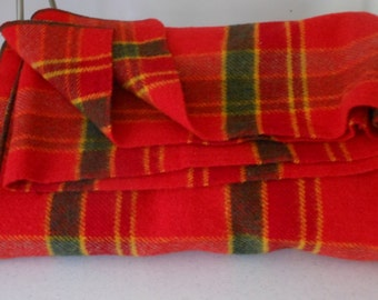 Vintage NEW Blanket Wool Red Plaid