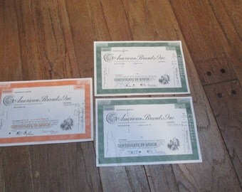 3 authentic Stock Certificates for American Brands, Inc., in New Jersey, circa 1970, 1971 and 1978 ~ FREE SHIPPING