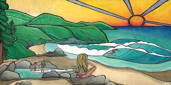 11x14 Large Print, Surf Family Beach Art by Lauren Tannehill ART