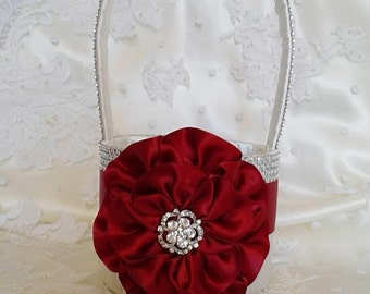 Apple Red, Dark Red and White Flower Girl Basket with Rhinestone Mesh handle and Trim, Lots of Bling, Custom Made to Order