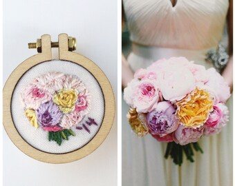 Custom Bouquet Hand Embroidered Necklace Design Your Own Wedding Flowers Keepsake Memory Valentine Gift for Her Under 50
