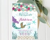 Mermaid Invitations - Purple and Teal - Mermaid Birthday - Instant Download