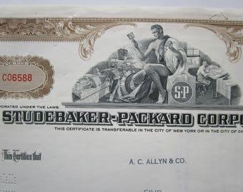 1960 STUDEBAKER-PACKARD Co Stock Certificate Brown Original Automobilia Gift. LARK Retro 1960s. Automotive Collectible. Old Car Decor.