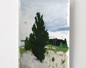 "4x6"" landscape - ""Dune Tree"" - small original painting"