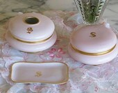 Reserved For Barb, Do Not Purchase, Stunning Vintage PINK LIMOGES VANITY Set, Shabby Chic, Monogram S, French