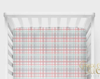 Fitted Crib Sheet - Modern Madras Plaid  - many colors to choose from! Mint Navy Grey Pink Blush Aqua Lime Fuchsia
