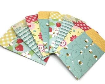 Coin envelopes, mini envelopes, set of 8, tiny envelopes, small envelopes, cash sleeves, product packaging, stocking stuffers, stationery