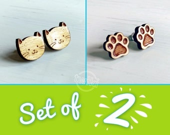 SET OF 2 - cats and paws wood earring studs -- cat earrings, cat studs, paw print earrings, paw print studs, earring set, jewelry set, wood