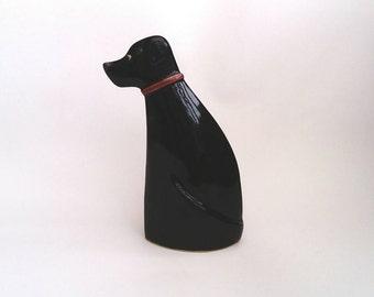 Dog sculpture,pottery dog, ceramic dog, black labrador.