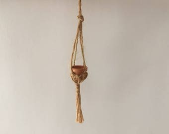 1970's Miniature Macrame Plant Hanger with Pot, Dollhouse Plant Holder