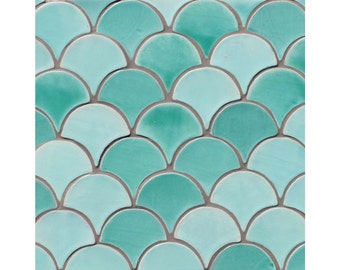 Moroccan fish scale tiles, Hand painted tiles, Moroccan tiles, Scallop tiles, Field tiles, ceramic tiles, 1 m2 10x9cm custom colour tiles