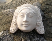 Very cool plaster goddess Head - Garden art - heavy and nice ready to hang