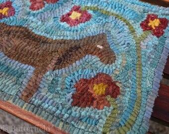Old Mare Primitive Folk Art Hooked Horse and Flower Rug {{Blue}}