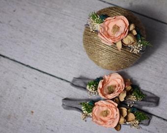 Peach Floral Tieback / Fower Baby Headband / Floral Jersey Knit Headband / Jersey Knit Tieback