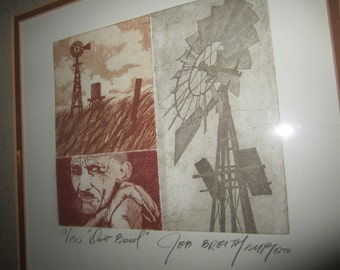 Windmill Western Country Rustic Wall Art Dust Bowl Signed and Numbered Dated 1978 by Jeb Breithaupt Depicting 1930s Farm History