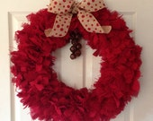 "Red Burlap with Rustic Jingle Bells and Wired Ribbon 20"" Ready to Ship"