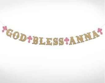 Personalized Glitter God Bless Banner // Baptism // Christening // Religious // Boy // Girl // 5 inches