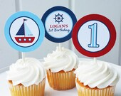 Sailboat or Nautical Cupcake Toppers Small Party Circles Printable - Sail Away Collection