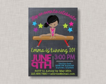 Gymnastics Birthday Invitation, Gymnastics Invitation, Gymnastics Party, Gymnastics Birthday, Tumbling, Tumble, Gym, Chalkboard Invitation