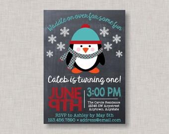 Penguin Invitations,Penguin Birthday Invitation,Christmas Birthday Invitation,Winter Onederland,Winter Birthday Invitation,Penguin Birthday