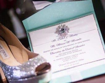Aqua / Turquoise Glitter Wedding Invitation
