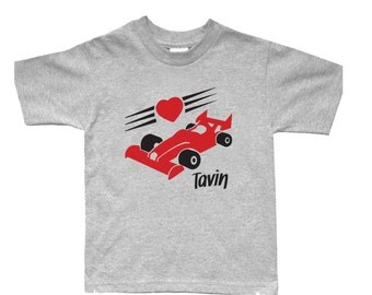 Valentine Personalized Race Car Shirt for Kids - Valentine Gift Idea - Any Name - Choose your colors!