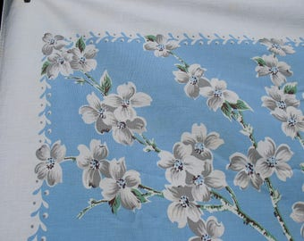 Reserved for Mary Ann     Vintage Tablecloth Dogwood Pattern Picnics Crafts Beach