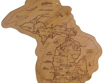 Engraved Michigan Destinations Board - Michigan Shaped Bamboo Cutting Board, Custom Engraved - Wedding Gift, Couples Gift, Housewarming Gift